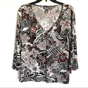 Chico's Twist Front Floral Top